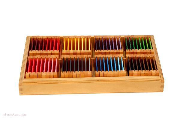 Znalezione obrazy dla zapytania kolorowe tabliczki montessori